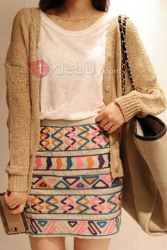 カラーブロック幾何学模様スカート