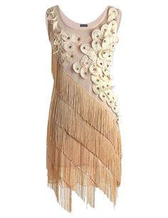 PrettyGuide Donne 1920 Perline Frangia Smerlato Petalo Vestito Con le Frange L Beige