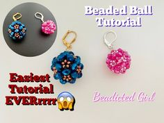 Beaded Ball || Bicone bead ball || Rondelle bead ball Earrings || How to make Beaded bead - YouTube Beaded Earrings Patterns, Seed Bead Patterns, Seed Bead Earrings, Beading Patterns, Beading Tutorials, Beading Ideas, How To Make Beads, Beaded Bead, Diy Jewellery