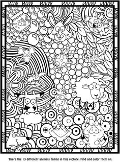 Seek, Sketch and Color -- Animals Dover Publications Zentangle Animal Coloring Pages, Coloring Book Pages, Printable Coloring Pages, Coloring Sheets, Doodle Coloring, Mandala Coloring, Coloring Pages For Kids, Colorful Drawings, Colorful Pictures