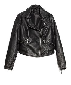Take a look at this Black Faux Leather Motorcycle Jacket - Women by Costa Blanca on #zulily today!
