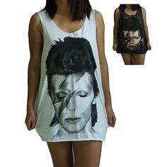 37cab8dd5235a9 David Bowie Vest Tank Top Singlet Dress Sleeveless T-Shirt Mens Womens  Ladies