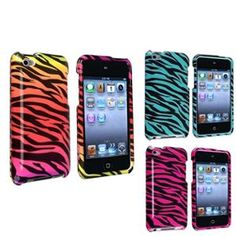 For Apple iPod touch 4th Generation Case Combo, Hot Pink / Black Zebra, Blue / Black Zebra, Colorful Zebra.