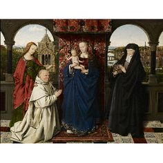 Virgin and Child, with Saints and Donor, about 1441-43 Jan van Eyck and Workshop  (ca.1395 - 1441) Oil on panel 18 5/8 × 24 1/8 in. (47.3 × 61.3 cm) Framed: 28 1/2 x 33 11/16 x 2 1/2 in. (72.4 x 85.6 x 6.4 cm) Purchased by The Frick Collection, 1954
