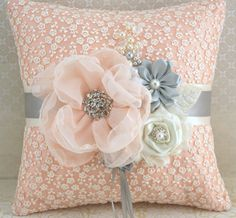 Ring Bearer Pillow Bridal Pillow Wedding Pillow in Ivory, Peach and Light Grey with Lace and Pearls. $115.00, via Etsy.