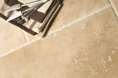 Brushed & Chipped Edge Travertine Tiles.