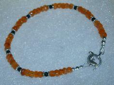 925 Sterling Silver Genuine Orange Carnelian & by dsmenagerie