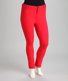 Look at this #zulilyfind! Red Skinny Jeans - Plus by C.O.C. #zulilyfinds