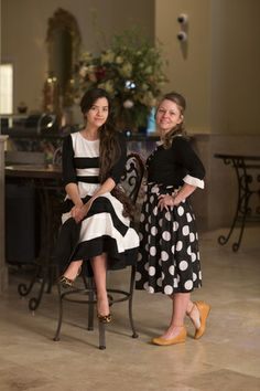 Modest fashion and modest bridesmaid dresses. Black and white Chic Lady Dress and polka dot skirt.