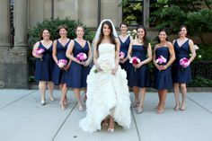 color and fabric for bridesmaids dresses (midnight blue silk shantung)
