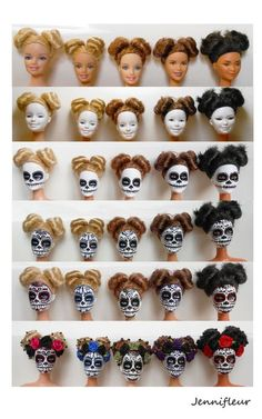 Barbie Day of Dead Halloween Doll, Halloween Signs, Fall Halloween, Halloween Crafts, Mexican Halloween, Halloween Party, Sugar Skull Crafts, Sugar Skulls, Diy And Crafts