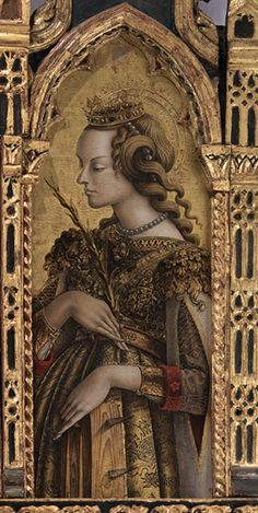 Saint Cecilia by Carlo Crivelli renaissance Renaissance Kunst, Renaissance Portraits, Renaissance Paintings, Italian Renaissance, Medieval Fashion, Medieval Art, Saint Catherine Of Alexandria, Sainte Cecile, Classic Artwork