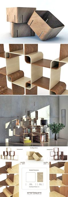 Modular stackable shelving