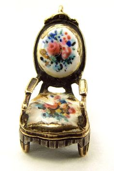 Victorian Gold, Silver & Enamel French CHAIR Charm