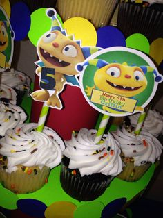 Henry Hugglemonster Set Of 12 Cupcake Toppers By Partybees