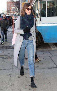 Vintage Levi's 501s, long grey coat, tartan scarf, Dr Martens.