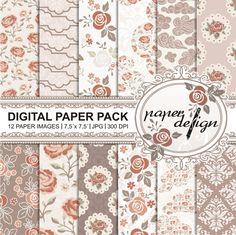Shabby Chic Vintage Rosen Garten Papier Digital Paper Pack