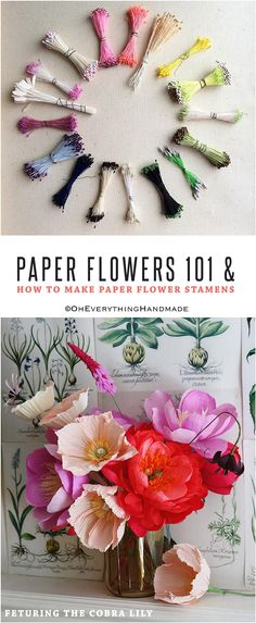 Paper Flowers 101 & How to Make Paper Flower Stamens - OhEverything Paper Flowers Craft, Large Paper Flowers, Flower Crafts, Diy Flowers, Fabric Flowers, Paper Crafts, Flower Diy, Crepe Paper Roses, Flower Stamen