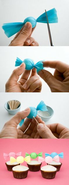 How to Make a Candy Cupcake Toppers-Charming Crepe Paper Crafts