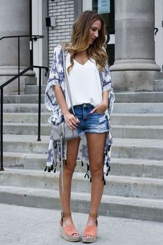 Kimono: Nordstrom , similar here and here // Tank: Nordstrom // Shorts: BlankNYC // Shoes: Marc Fisher // Bag: c/o Rebecca Minkoff ...