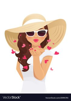 Summer kiss woman vector image on VectorStock