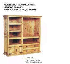 Libreria vitrina alacena mueble bar rustica mexicana madera maciza 72 x 182 x 36 precio - Muebles rusticos precios ...