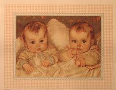 Vintage print of twins, Maud Tousey Fangel.