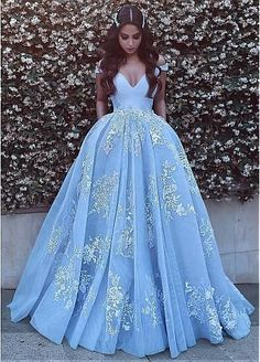 Wonderful Off-the-shoulder Ball Gown Prom Gowns,Formal Evening Dresses,Blue Prom Dresses With Lace Appliques,Long Prom Dresses With Pocket,Quinceanera Dresses Quince Dresses, Prom Dresses Blue, 15 Dresses, Ball Dresses, Elegant Dresses, Pretty Dresses, Beautiful Dresses, Formal Dresses, Formal Prom