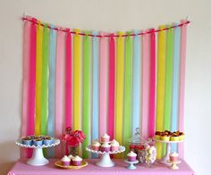 Easy crepe paper streamers: Attach ribbon between two Command Adhesive hooks. Tie strips of crepe paper to ribbon. Tape the end of each strip of crepe paper to the wall, just below the table height to keep in place {Glorious Treats} Crepe Paper Backdrop, Streamer Backdrop, Party Streamers, Crepe Streamers, Birthday Streamers, Diy Party Backdrop, Diy Birthday Backdrop, Cheap Backdrop, Ribbon Backdrop