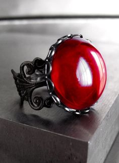 Blood Red Cocktail Ring - Deep Red Glass Cabochon, Black Filigree Adjustable Ring, Dark Halloween Jewelry, Goth Gothic Ring - PASSION on Etsy, $26.00