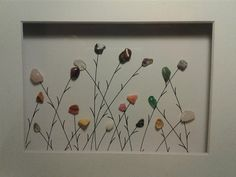 pebble art~wildflowers~natural decor~precious stones~8x10 matted artwork