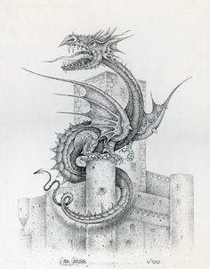 Art Illustration By Wayne Anderson: Dragon of Belcastel. This is a framed limited-edition serigraph of 100 pieces that have each been signed and numbered by the artist. He won the Gold Medal in 1976 for Best Illustrated Children's Book from the Society of Illustrators in New York for Ratsmagic. This is a limited-edition serigraph of 100 pieces that have each been signed and numbered by the artist. We are proud to present this lovely exclusive serigraph. Throughout his career,...