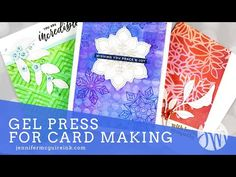 How To Use a Gel Press + MANY Cards Card Making Tutorials, Card Making Techniques, Making Ideas, Jennifer Mcguire Ink, Gel Press, Gelli Plate Printing, Window Cards, Distress Oxide Ink, Ink Pads