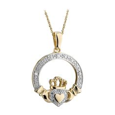 Solvar here present a luxurious and decadently designed piece of Irish jewellery with this yellow gold and diamond Claddagh pendant. Irish Jewelry, Claddagh Rings, White Gold Diamonds, Celtic, Wedding Rings, Pendant Necklace, Yellow, Fields, Earrings