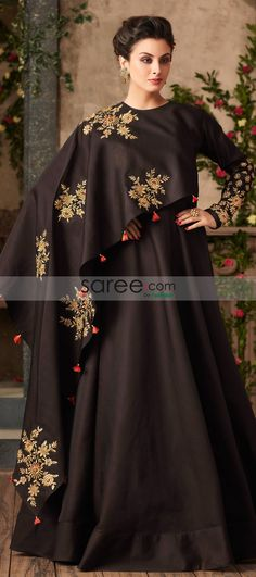 Deep Brown Satin Silk Victorian Gown with One Sided Ruffled Cape Indian Wedding Gowns, Indian Gowns, New Wedding Dresses, Stylish Gown, Stylish Dresses, Designer Gowns, Indian Designer Wear, Luxury Designer, Latest Gown Design