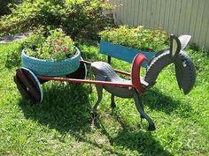 pneus reciclados no jardim