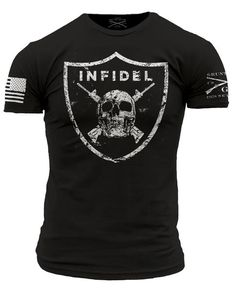 It doesn't matter if you are raiding villages or raiding an open bar this is the shirt to wear. Grunt Style's Infidel shirt is a black t-shirt made of 100% ultra comfortable and soft cotton.