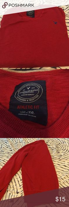 Mens Red AE Sweater Gently worn, just too small for my husband. Size XL. American Eagle Outfitters Sweaters V-Neck