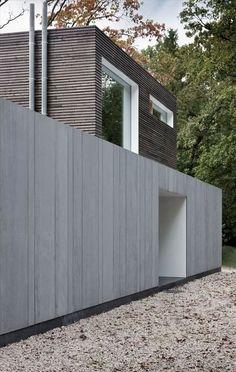 Wood meets fibre cement facade materials. Modern villa in Belgium. arch: Johan Fierens.  equitone.com