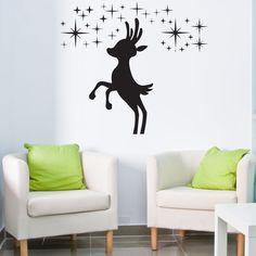 Reindeer II Christmas Wall Decal (24in x 24in )