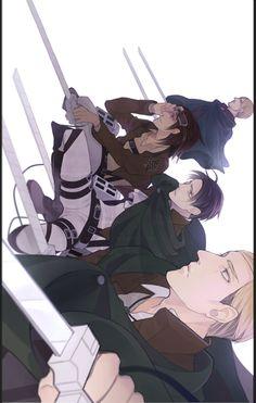 Attack on Titan Mike, Hanji, Levi, and Erwin