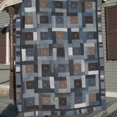 Could 'feature' the blue khakis in the big squares? Custom Made Recycled Jean & Corduroy Lap Quilt