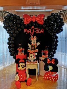 Minnie Mouse second birthday party for girl Mickey Mouse Birthday Decorations, Minnie Mouse Theme Party, Minnie Mouse Balloons, Minnie Mouse Birthday Cakes, Mickey Halloween Party, Minnie Mouse Halloween, Red Birthday Party, Baby, Aladdin Birthday Party