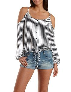 Striped Button-Up Cold Shoulder Top: Charlotte Russe Diy Mode, Diy Fashion, Womens Fashion, Shirt Bluse, Shirt Refashion, Mode Style, Diy Clothes, Blouse Designs, Blouses For Women