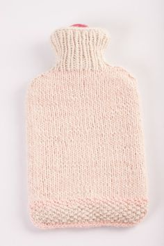 Hand knitted hot water bottle cover for 2 litre hot water bottle, Make you warm, Wool by Boandcohome on Etsy