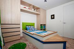 The amazing boat bed! Winning kids room from Maree and James' The Block NZ 2014 Bedroom Wardrobe, Master Bedroom, The Block Nz, Boat Bed, Teenage Room, House 2, Corner Desk, Kids Room, Interior Ideas