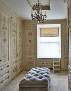 Faux painted doors with British furniture maker Adams patterns. New York's Most Exceptional Apartment Buildings - The Glam Pad Vintage Dressing Rooms, Dressing Room Design, Dream Closets, Closet Rooms, Open Closets, Closet Space, Tadelakt, Interior Decorating, Interior Design