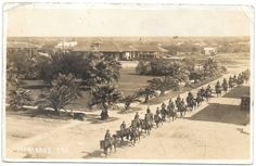Real Photo Postcard Military Men on Horseback in Mercedes, Texas~95860