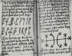 """Galdrabók. This grimoire is considered to be written in the 16th or 17 century, written by four male witches- three Icelanders and one Dane. It contains the """"black magic"""" to harm others, along with protection spells."""