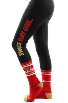 Since Day One (Women's Black\/Red Leggings) - San Francisco 49ers -
